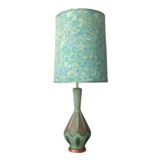 Vintage Mid-Century Modern Atomic Teal Table Lamp With Shade For Sale