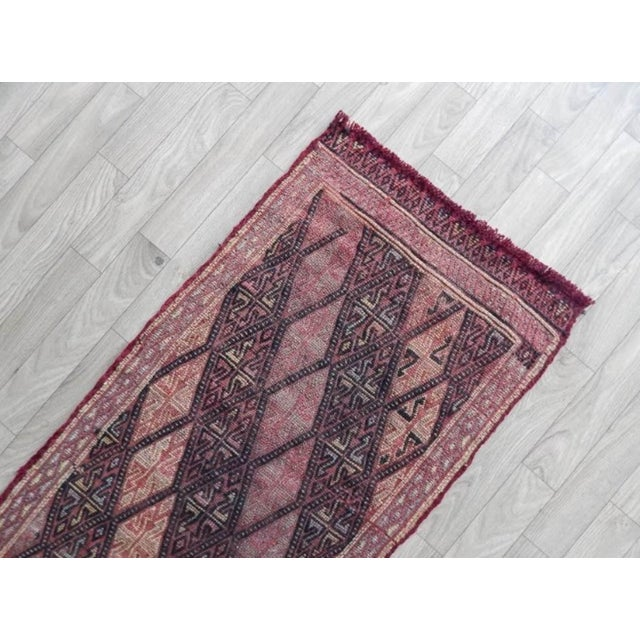 1970s Masterwork Hand-Woven Rug Braided Small Kilim 1′6″ × 3′ For Sale - Image 5 of 8