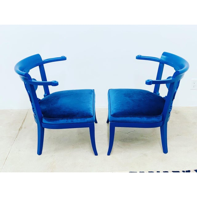 Blue Mid Century Chinoiserie Style Horseshoe Chairs Redefined in Klein Blue - a Pair For Sale - Image 8 of 12