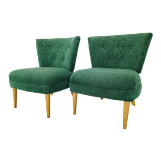 1960s Vintage Kroehler Designed by Gilbert Rohde Hollywood Regency Slipper Chairs- A Pair For Sale