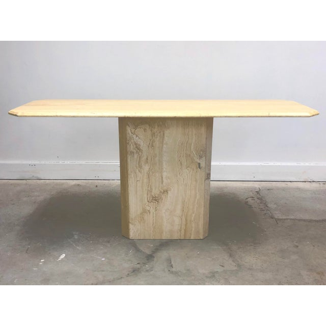 Modern Italian Modern Beveled Travertine Console Table For Sale - Image 3 of 12