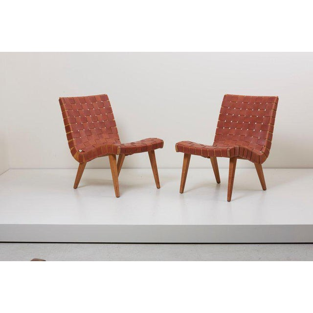 Pair of Early Jens Risom 654W Lounge Chairs by Knoll with New Leather Webbing For Sale - Image 9 of 12