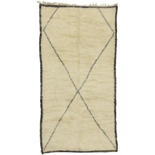 "20th Century Boho Chic Beni Ourain Moroccan Rug - 5'10"" X 11'05"" For Sale"