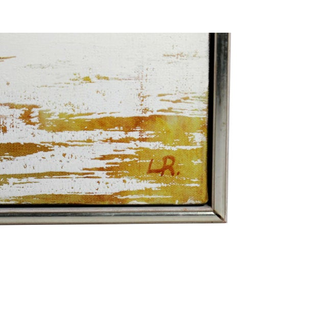 """Mid-Century Winter Snow Farmhouse Small 11"""" Square Oil Painting - Signed & Frame For Sale - Image 4 of 5"""