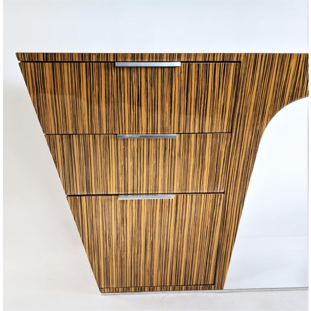 Zebra Wood Modern Cantilever Desk For Sale In Miami - Image 6 of 13
