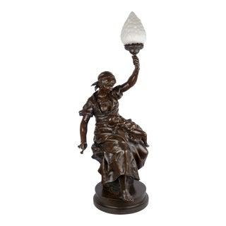 """""""Fileuse Et Enfant"""" Torchiere Lamp Antique Bronze Sculpture by Emile Peynot, 38"""" H For Sale"""