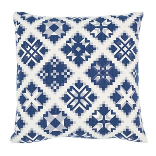 Contemporary Schumacher Tristan Patchwork Pillow in Indigo For Sale