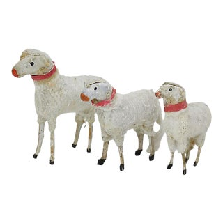 1940s Putz Stick Leg Sheep Figures, Set of 3 For Sale