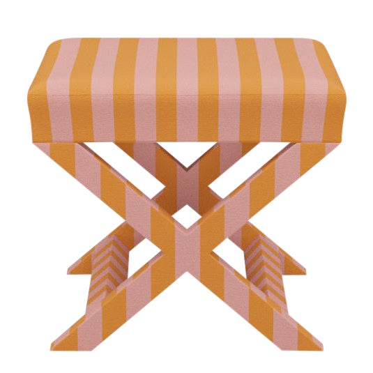 X Bench in Pink Stripe For Sale