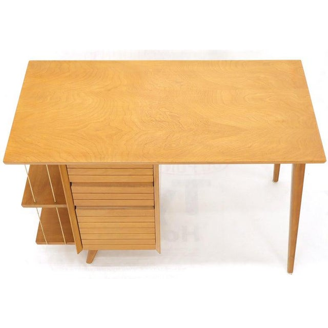 Light Birch Single Pedestal Petit Desk With Bookcase and Three Drawers For Sale - Image 11 of 12
