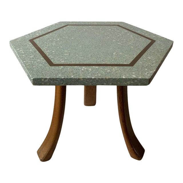1950s Harvey Probber Blue Terrazzo Tripod Side Table For Sale