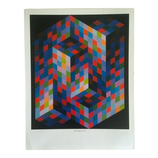 "Vintage Victor Vasarely Op Art Modernist Geometric Lithograph Print "" Izzo - m.c. "" 1969 For Sale"