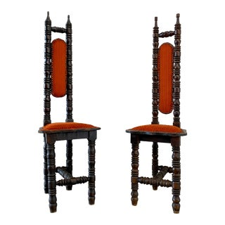 Antique Spanish Jacobean Renaissance Revival Gothic Hall Prayer Chairs - a Pair For Sale