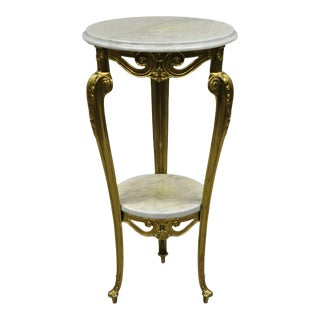 Vintage Italian Brass and Marble Victorian Style Pedestal Plant Stand Table For Sale