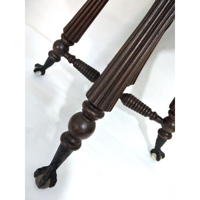 Mid 20th Century Tonk, Chicago & New York Mahogany Piano Stool With Ball & Claw Feet For Sale - Image 5 of 7