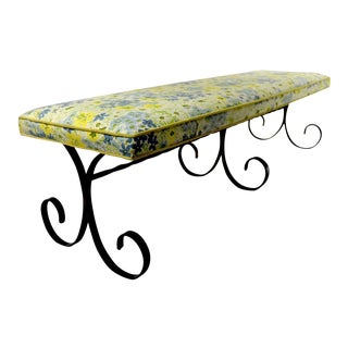 Extra Long Mid Century Wrought Iron and Upholstered Bench For Sale