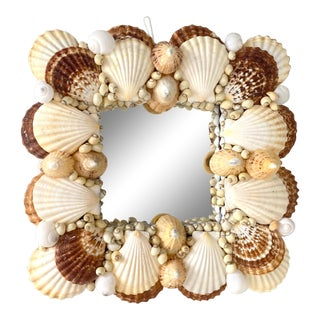 Vintage Coastal Shell Mirror For Sale