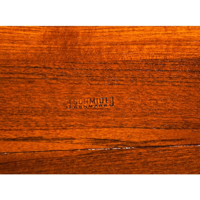 Brown Circa 1960, Denmark, J. Schmidt Inlaid Rosewood and Teak Side Table For Sale - Image 8 of 9