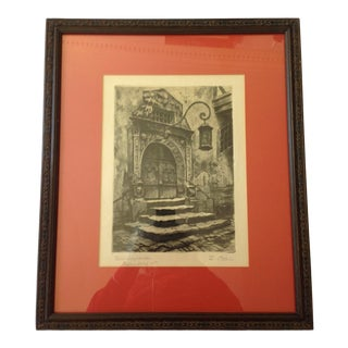 "Early 20th Century ""Rothausportal Rottenburg 07"" Architectural Lithograph by R.Balli, Framed For Sale"