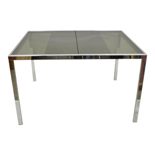 Italian Modern Milo Baughman Chrome & Glass Extension Dining Table For Sale