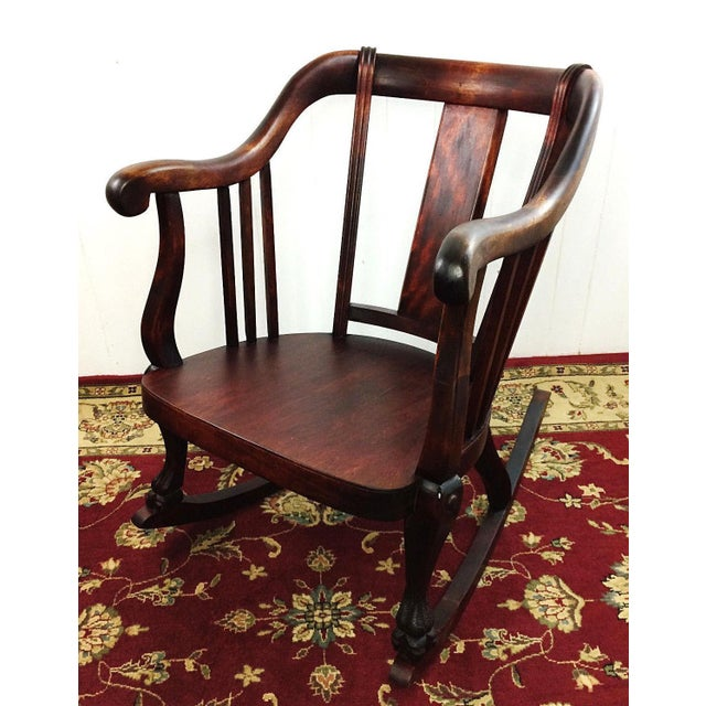 Antique Empire Barrel Back Claw Foot Mahogany Rocking Chair - Image 8 of 8