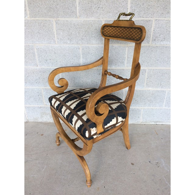 Baker Quality Regency Neoclassical Scroll Arm Accent Chair For Sale - Image 4 of 10