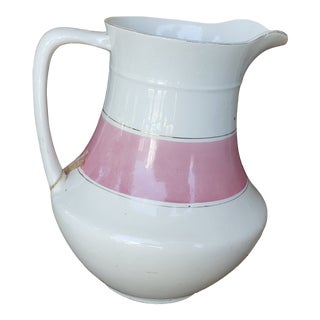 Old Paris of Paris France Porcelain Wash Pitcher With Pink and Gold Band For Sale