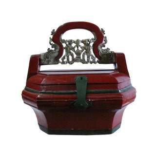 Chinese Distressed Red Color Golden Carving Handle Wood Basket For Sale