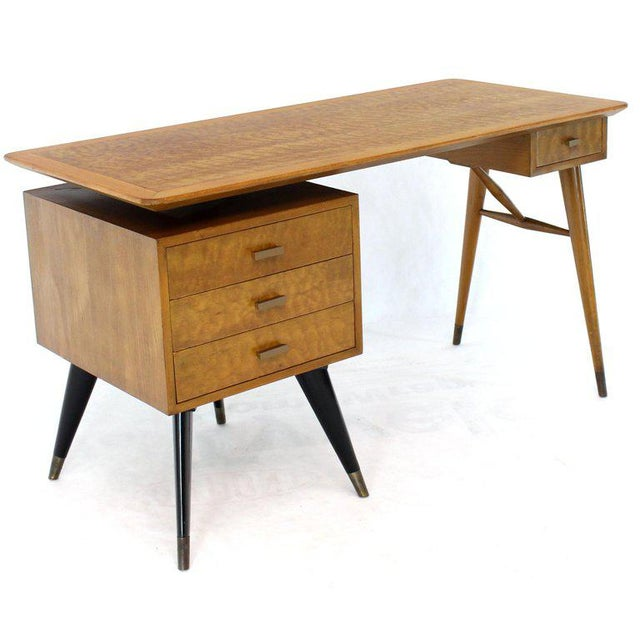 Black Italian Birch Tiger Maple Exposed Sculptural Legs One Pedestal 4 Drawers Desk For Sale - Image 8 of 13