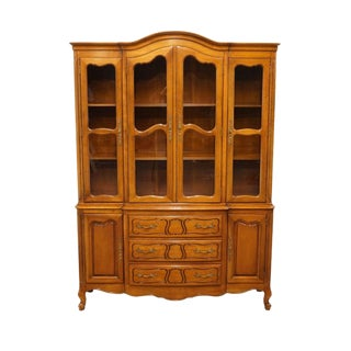 "Drexel Solid Cherry French Provincial 54"" Breakfront China Cabinet For Sale"