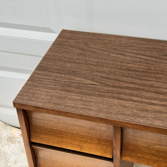 Mid-Century Modern Curved Front Writing Desk For Sale - Image 9 of 13