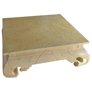 Faux Wood Grain Painted Coffee Table For Sale