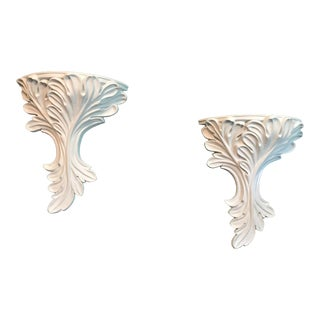 White Plaster Decorative Wall Brackets- a Pair For Sale