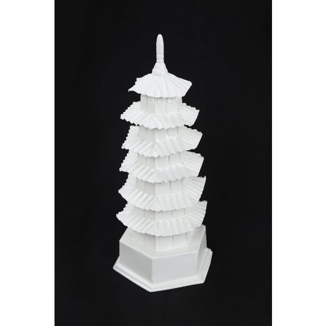 Chinoiserie 1970s Vintage Glossy White Pagoda For Sale - Image 3 of 7