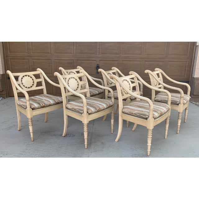 1980s Vintage Baker Furniture Milling Road French Country Dining Table and Six Chairs - Set of 7 For Sale - Image 5 of 11