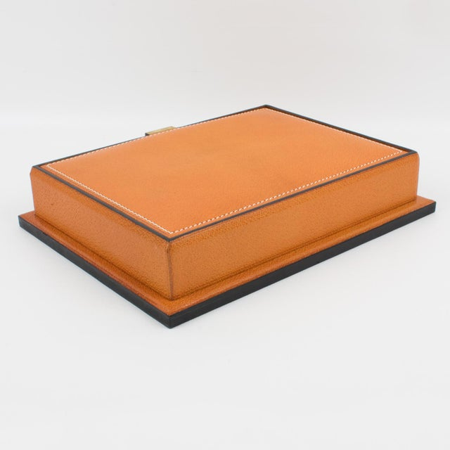 Metal Longchamp Hand-Stitched Leather Box For Sale - Image 7 of 13
