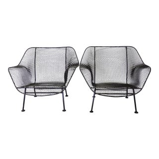 Russell Woodard Wrought Iron with Steel Mesh Lounge Chairs, Pair For Sale