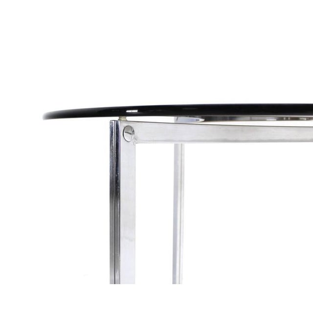 Triangular Bent Chrome Ribbon Base Smoked Glass Top Side End Table For Sale - Image 4 of 6