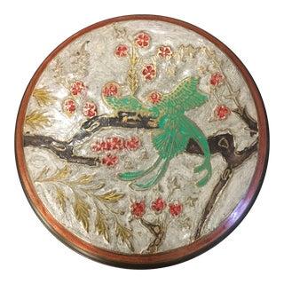 Vintage Brass Round Box Woh Birds