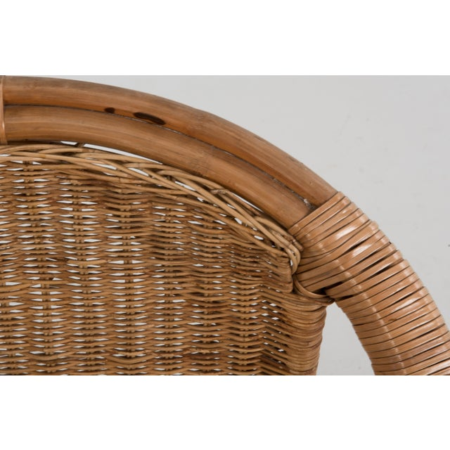Mid Century Boho Bamboo Rattan Hoop Chair For Sale - Image 9 of 13