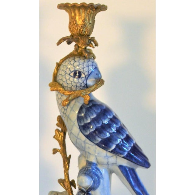 Asian (Final Markdown Taken) 1980s Blue and White Porcelain Ormolu Parrot Candlesticks - a Pair For Sale - Image 3 of 10