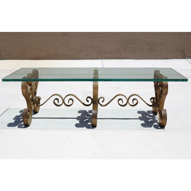 Vintage Iron Scroll Cocktail Table With Thick Glass Top For Sale - Image 4 of 9