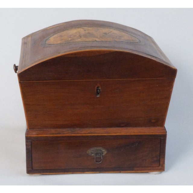 Circa 1820 English Georgian Style Mahogany and Satinwood Casket For Sale - Image 9 of 12