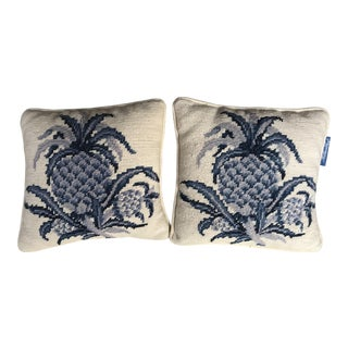 20th Century Americana Williamsburg Needlepoint Pineapple Pillows - a Pair