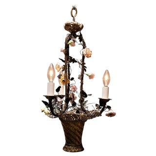 Belle Epoque Three-Light Basket Chandelier With Porcelain Flowers For Sale