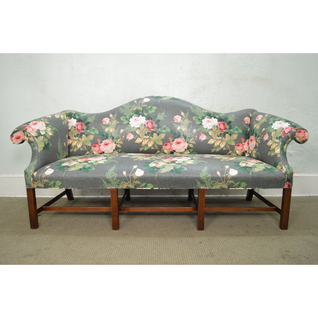 STORE ITEM #: 15425 Custom Mahogany Chippendale Style Camel Back Sofa AGE/COUNTRY OF ORIGIN – Approx 40 years, America...