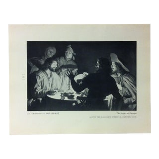 """Circa 1940 """"The Supper at Emmaus"""" by Gerard Van Honthorst a Masterpiece of Art Print For Sale"""