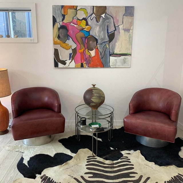 Milo Baughman Leather Swivel Chairs- a Pair