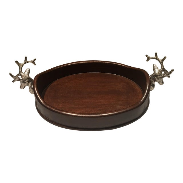 Vintage Holiday Wooden Tray With Pewter Stags For Sale