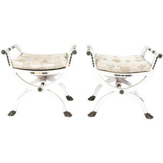 Late 18th Century Late-Gustavian Stools - a Pair For Sale